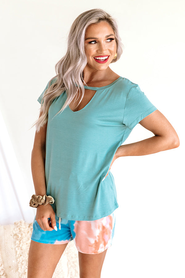 Keeping Score Shift Tee In Turquoise