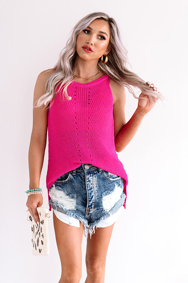 Visions Of Happiness Knit Top In Fuchsia