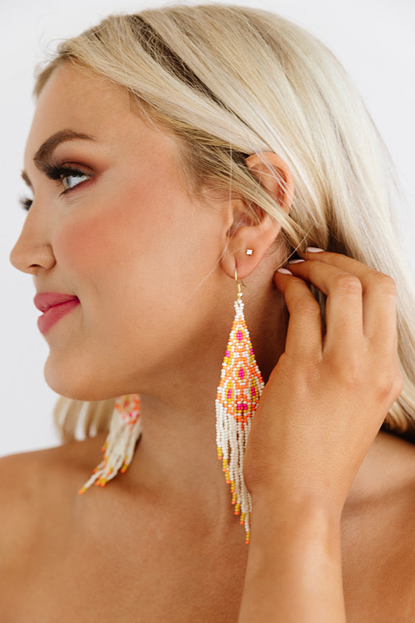Heating Up Beaded Earrings In Orange