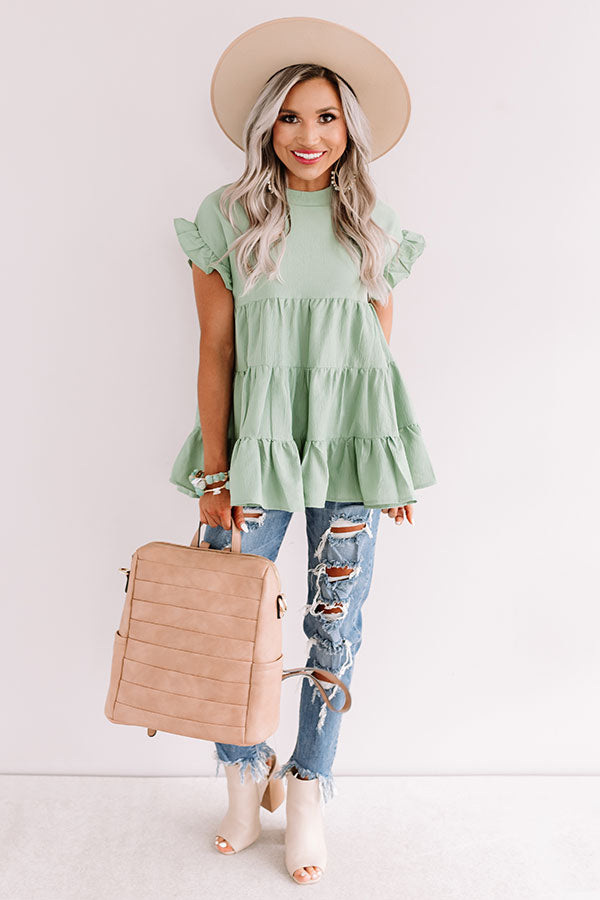 Coffee Date Crushin' Babydoll Top In Pear