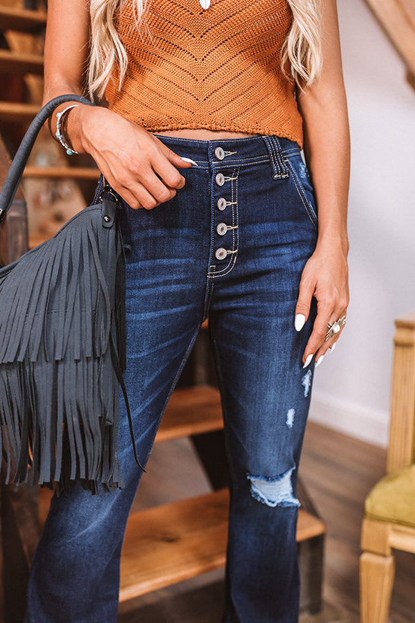 The Shelby High Waist Distressed Flare