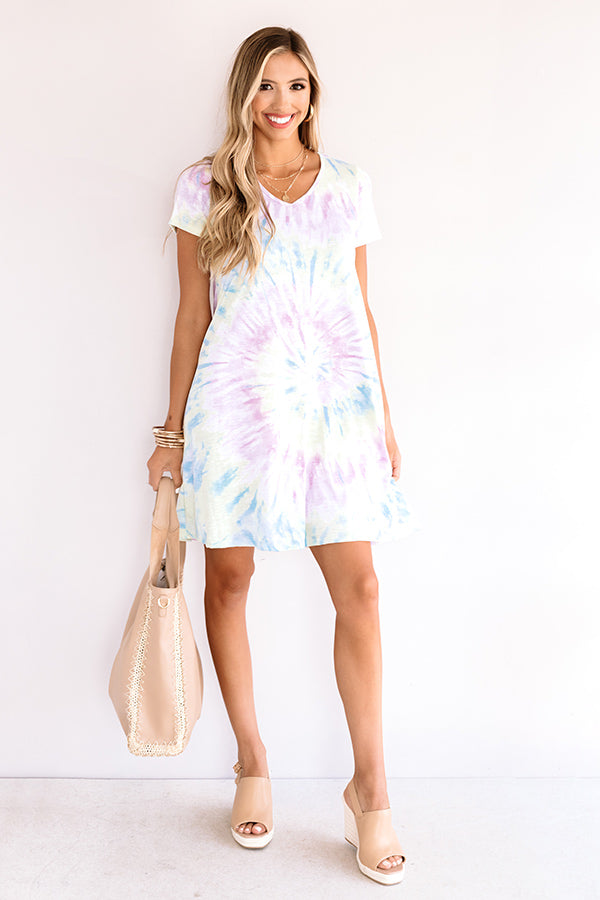Dressed Like A Daydream Tie Dye Dress  In Lavender