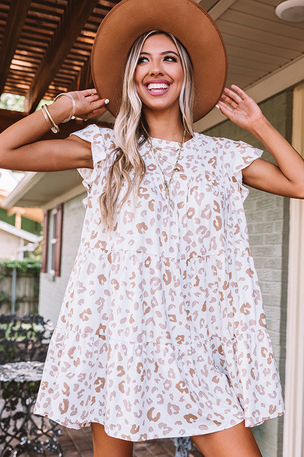 Dreaming Big Leopard Babydoll Dress In Ivory