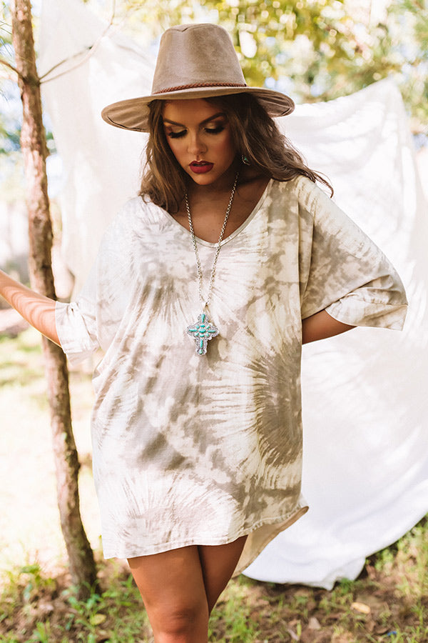 Front Porch Swing Tie Dye Tunic In Taupe