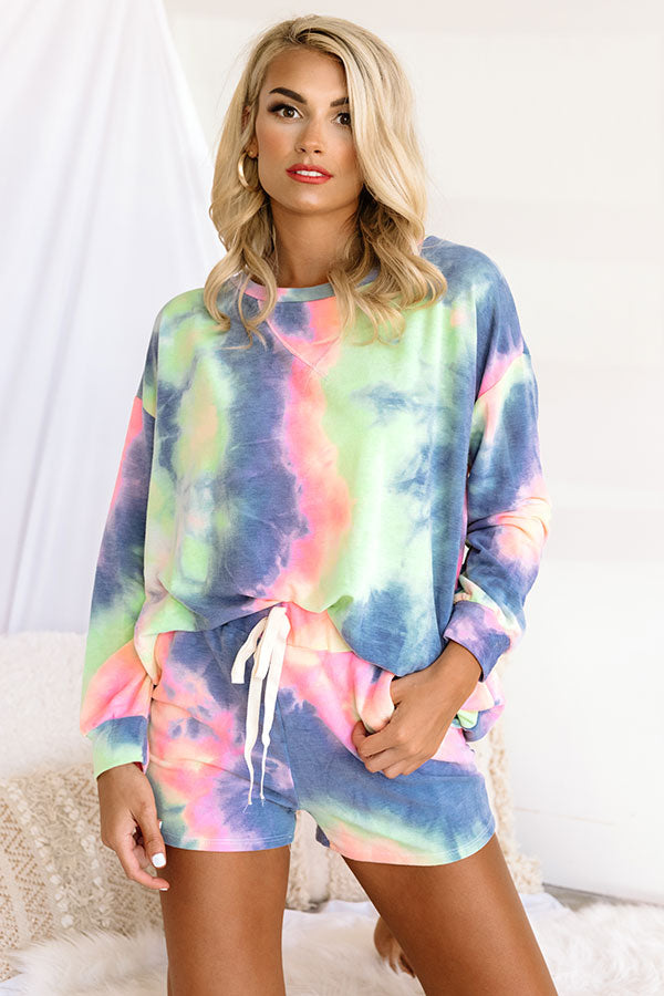 Morning Routine Tie Dye Shift Top In Navy