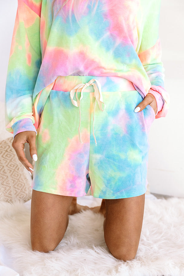 Morning Routine Tie Dye Shorts In Pink