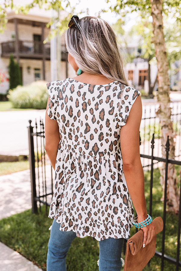 Runway Season Leopard Babydoll Top In Ivory