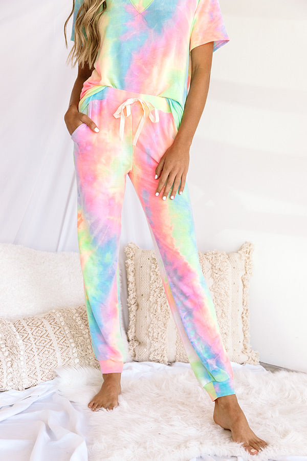 Snuggly Babe Tie Dye Joggers In Pink