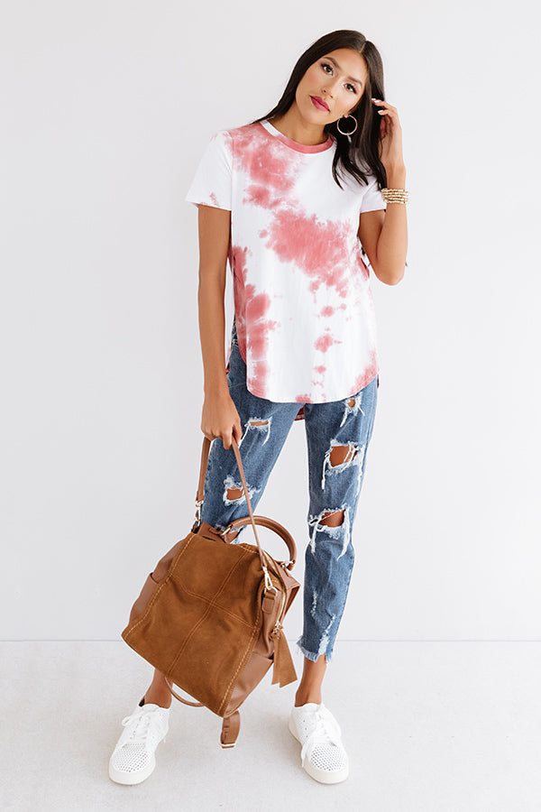 Simply Iconic Tie Dye Tee In Wine