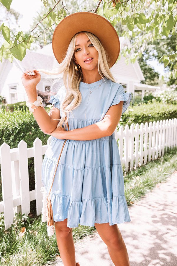 Secret Moments Babydoll Dress In Light Wash