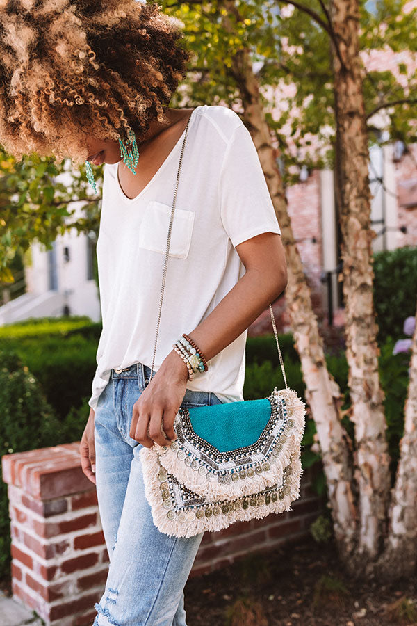 All The Way Embellished Clutch In Turquoise