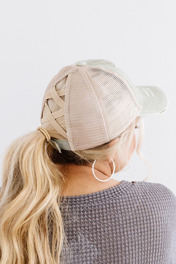Chic Standard High Pony Tail Cap In Sage