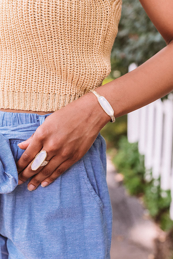 Layla Gold Cuff Bracelet in Opalite Illusion