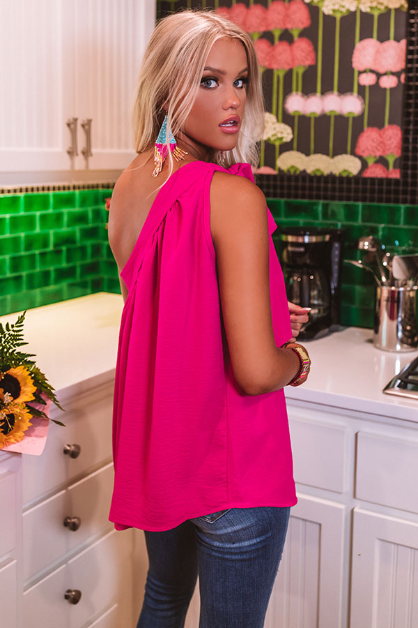 Fine Like Wine Top In Fuchsia