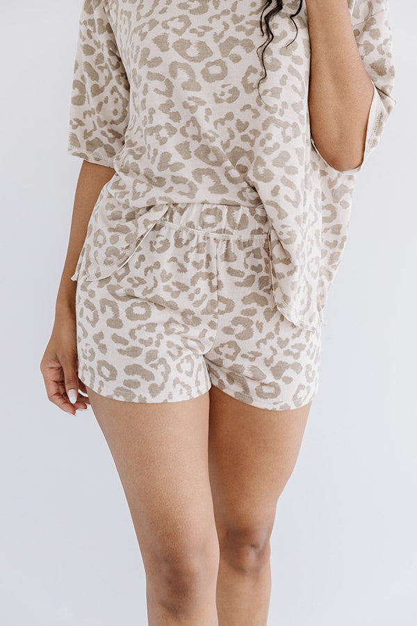 Dreamy Babe Leopard Shorts in Warm Taupe