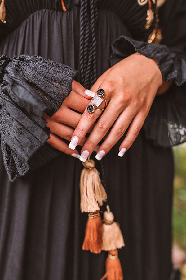 The Dottie Druzy Ring in Black