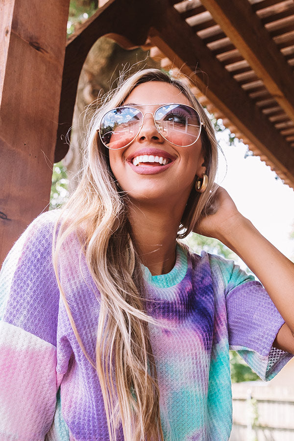 Message In A Bottle Polarized Aviator Sunnies In Periwinkle