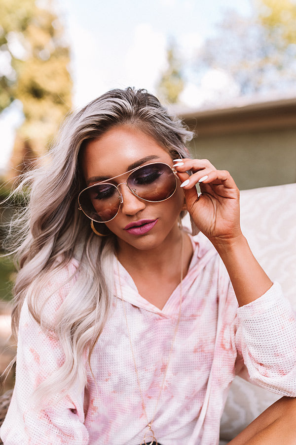 Message In A Bottle Polarized Aviator Sunnies In Brown
