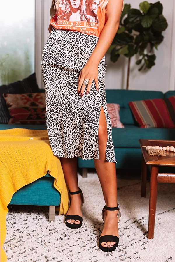 Creekside Kisses Leopard Midi Skirt