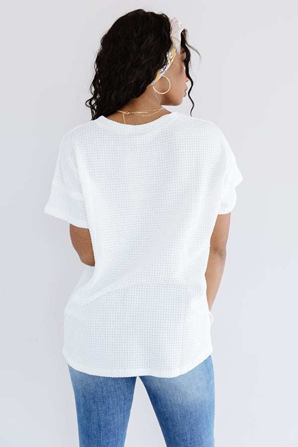 Sedona Moment Waffle Knit Shift Top In White