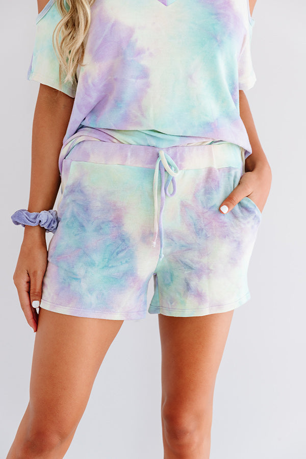Coffee And Cozy Tie Dye Shorts In Mint