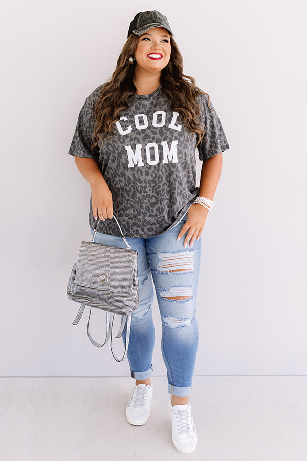 Cool Mom Leopard Shift Top In Charcoal