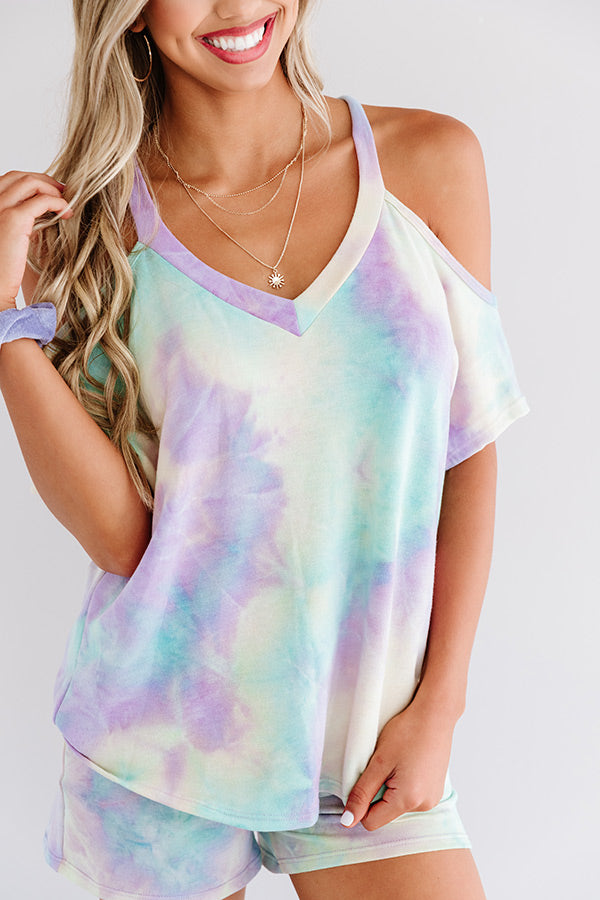 Coffee And Cozy Tie Dye Shift Top In Mint