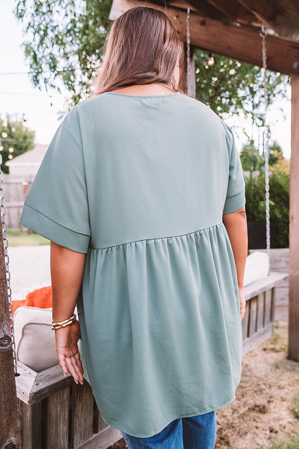 Downtown Brooklyn Babydoll Top In Sage