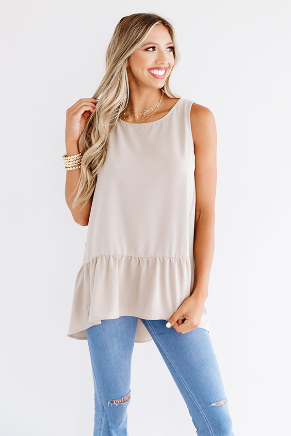 Central Park Sunset Shift Top In Warm Taupe