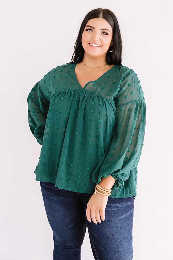 Spot On Babydoll Top In Hunter Green