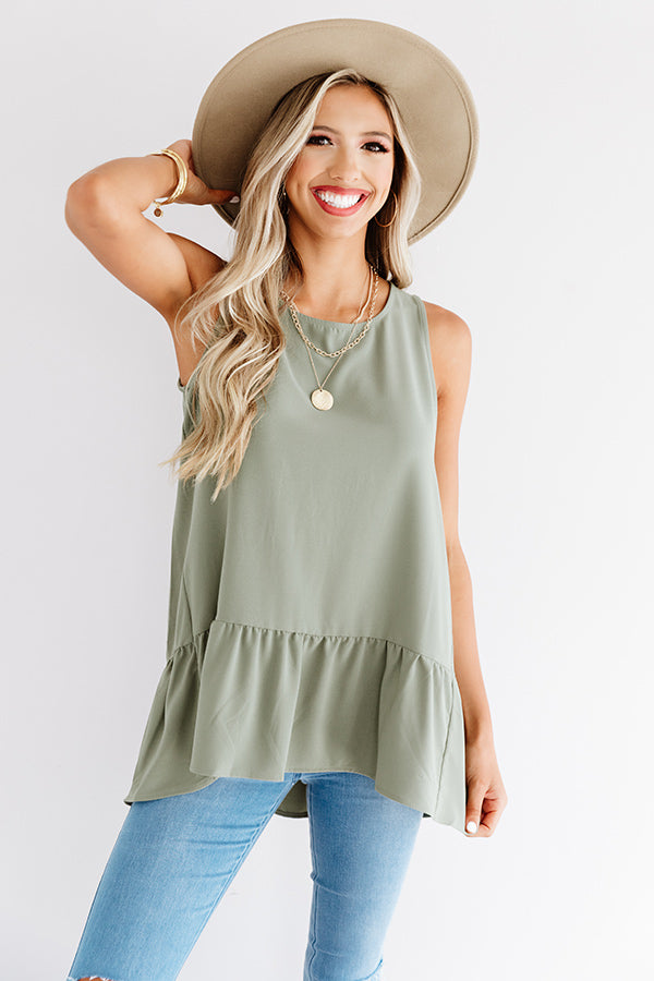 Central Park Sunset Shift Top In Sage