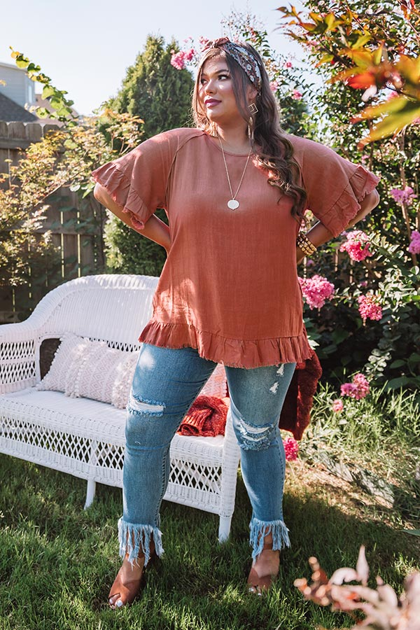 S'more Kisses Shift Top In Rust