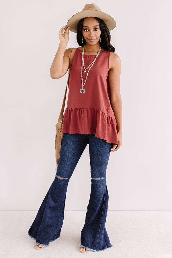 Central Park Sunset Shift Top In Aurora Red