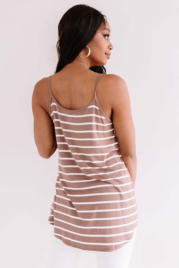 Cali Coast Stripe Shift Tank In Mocha