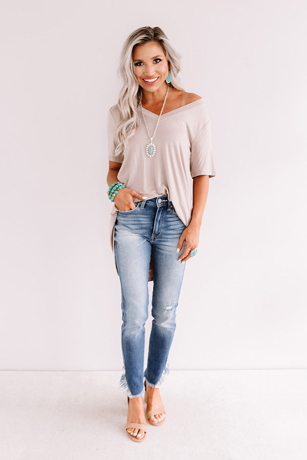 Coastal Chic Shift Tee In Warm Taupe