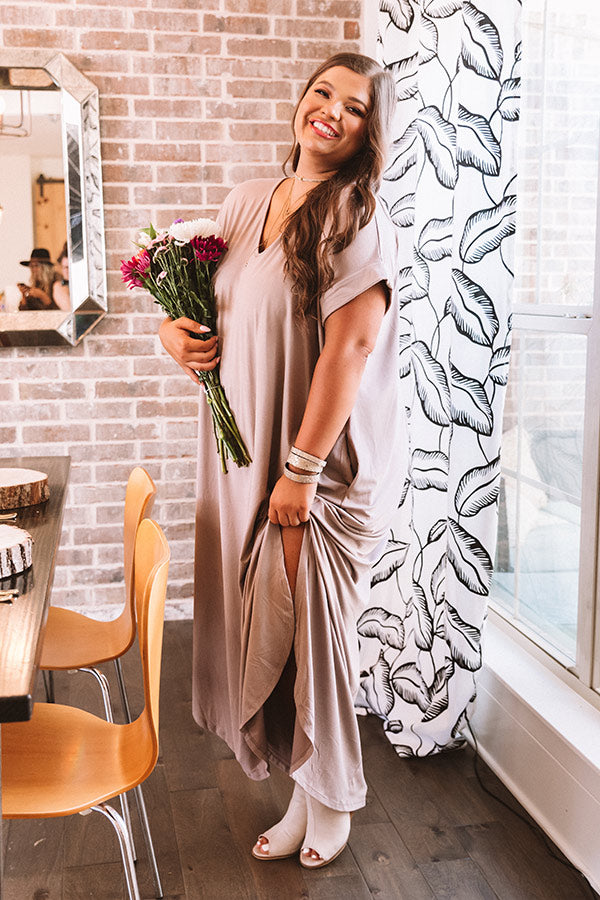 Just My Type T-Shirt Maxi In Taupe