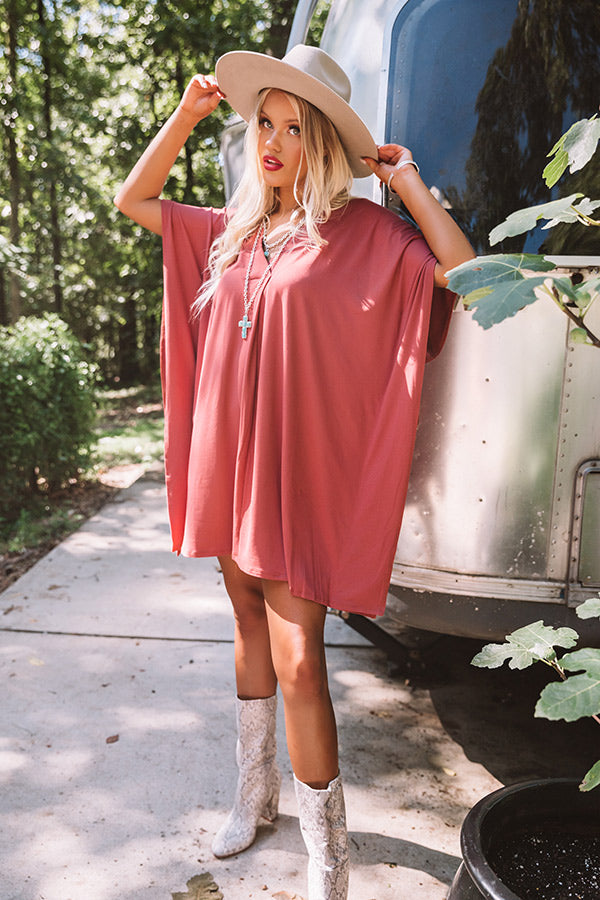 Chic Arrival Shift Dress In Rustic Rose