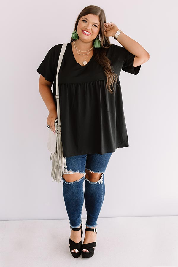 Downtown Brooklyn Babydoll Top In Black