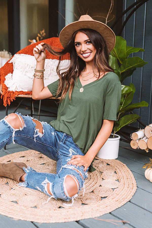 Coastal Chic Shift Tee In Olive