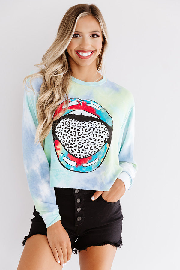 Let's Talk Leopard Tie Dye Crop Sweatshirt In Blue