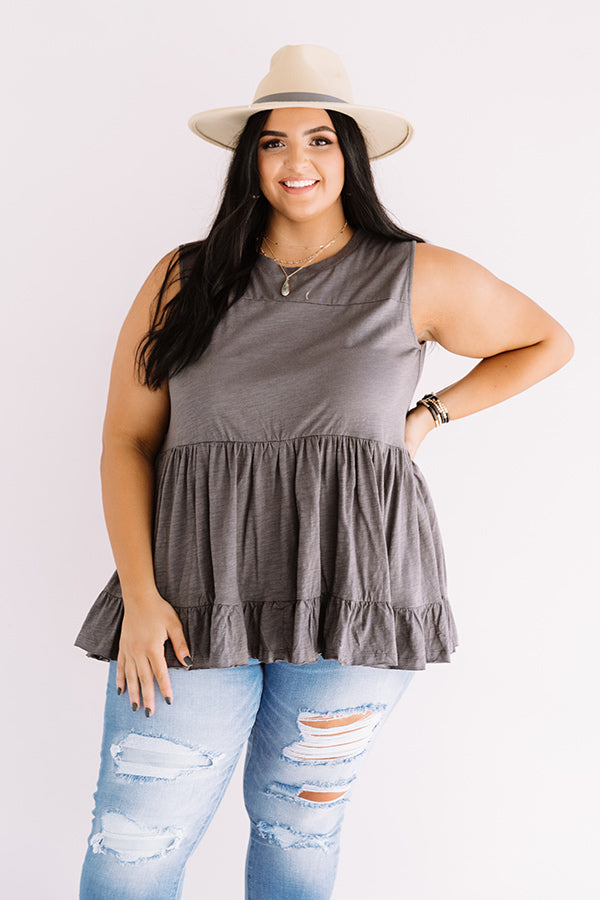 Bleecker Street Babe Babydoll Top In Charcoal