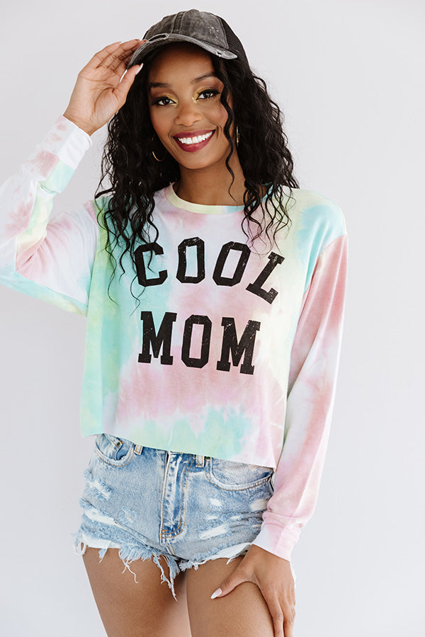 Cool Mom Tie Dye Crop Sweatshirt In Pink