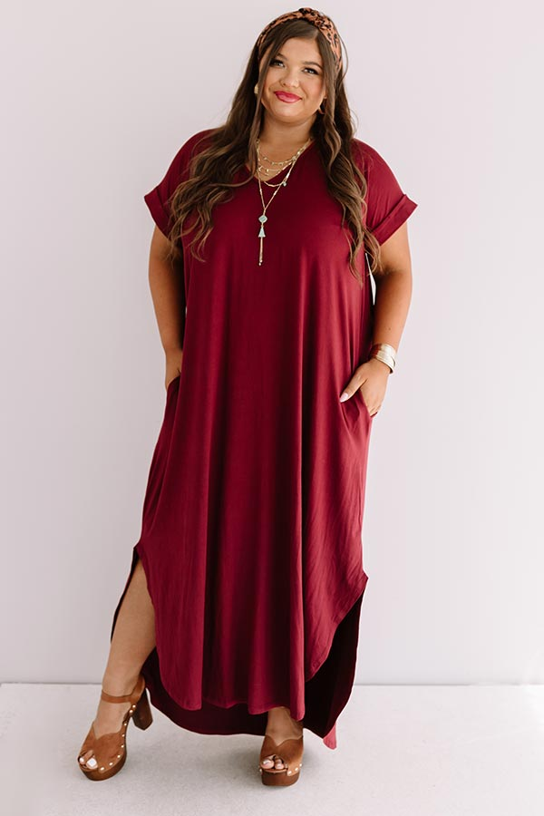 Just My Type T-Shirt Maxi In Maroon