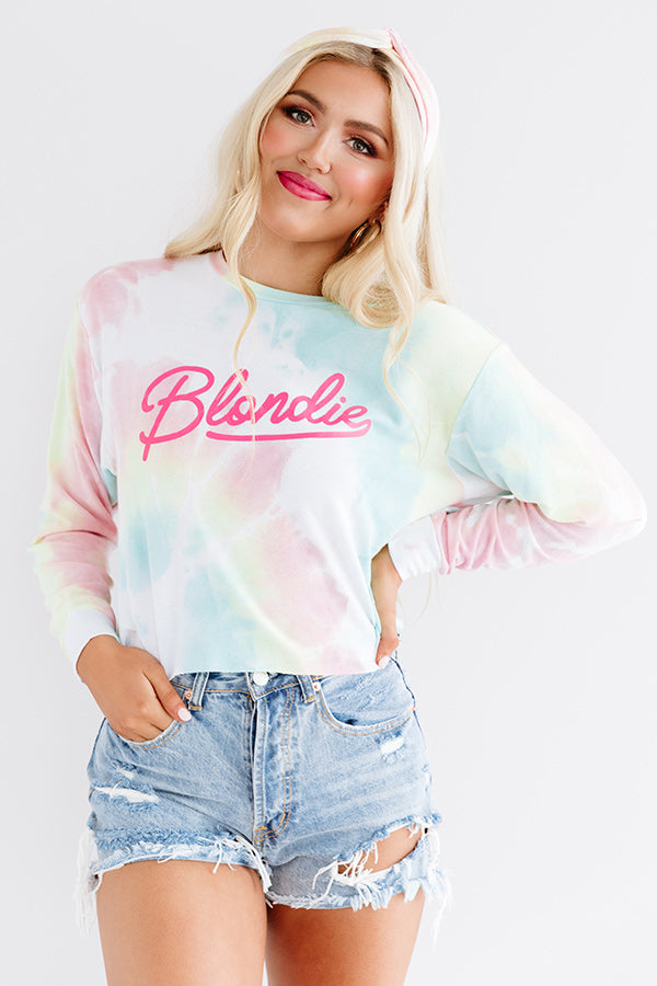 Blondie Tie Dye Crop Sweatshirt In Pink