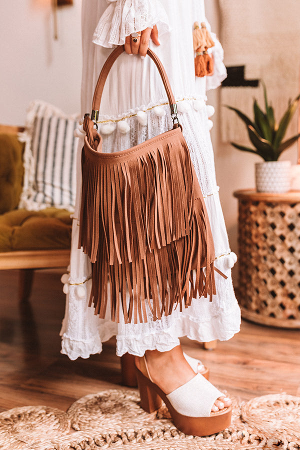 Chic Harmony Fringe Tote In Brown