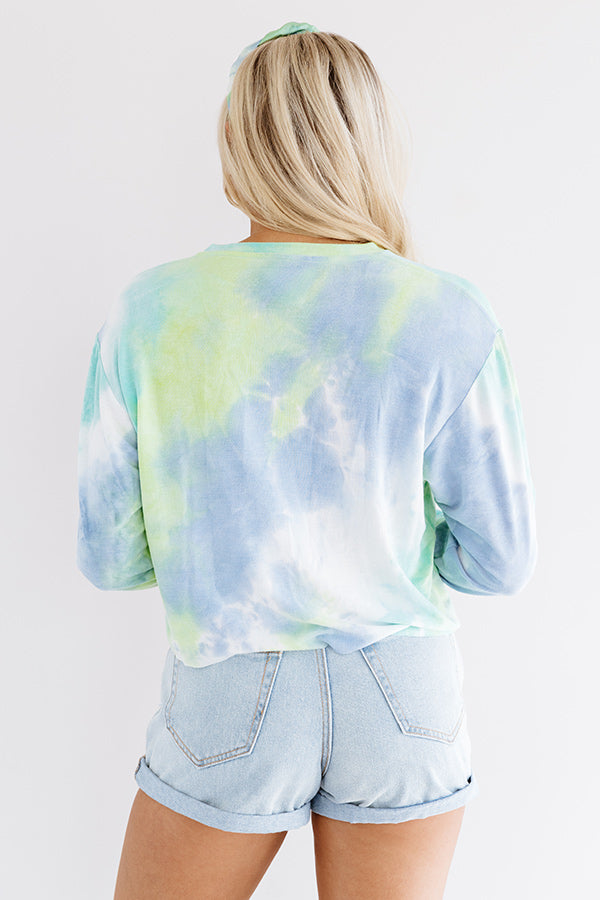 Blondie Tie Dye Crop Sweatshirt In Blue