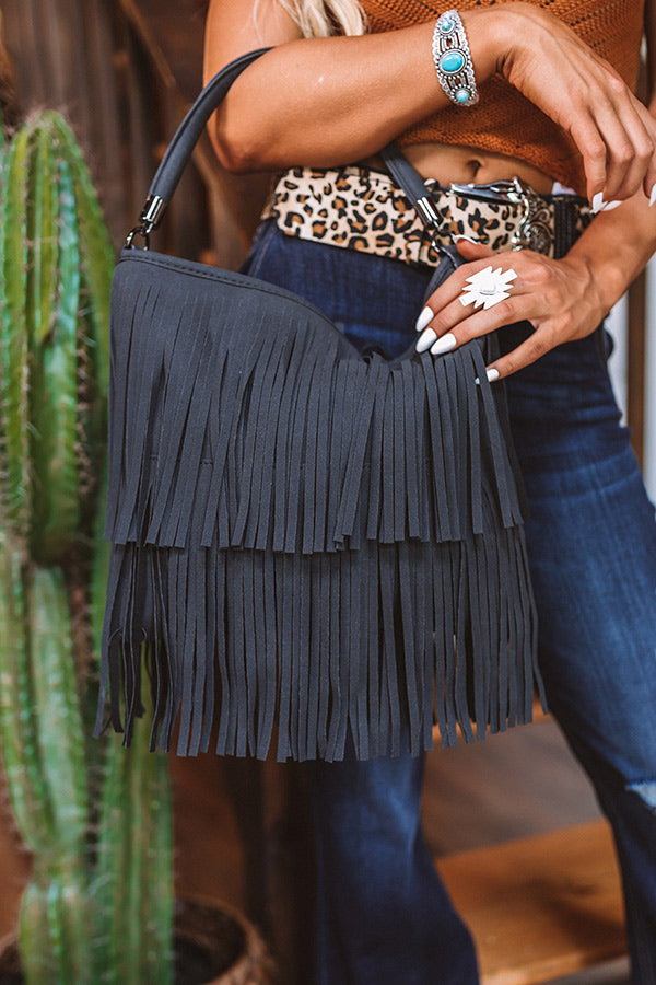 Chic Harmony Fringe Tote In Black