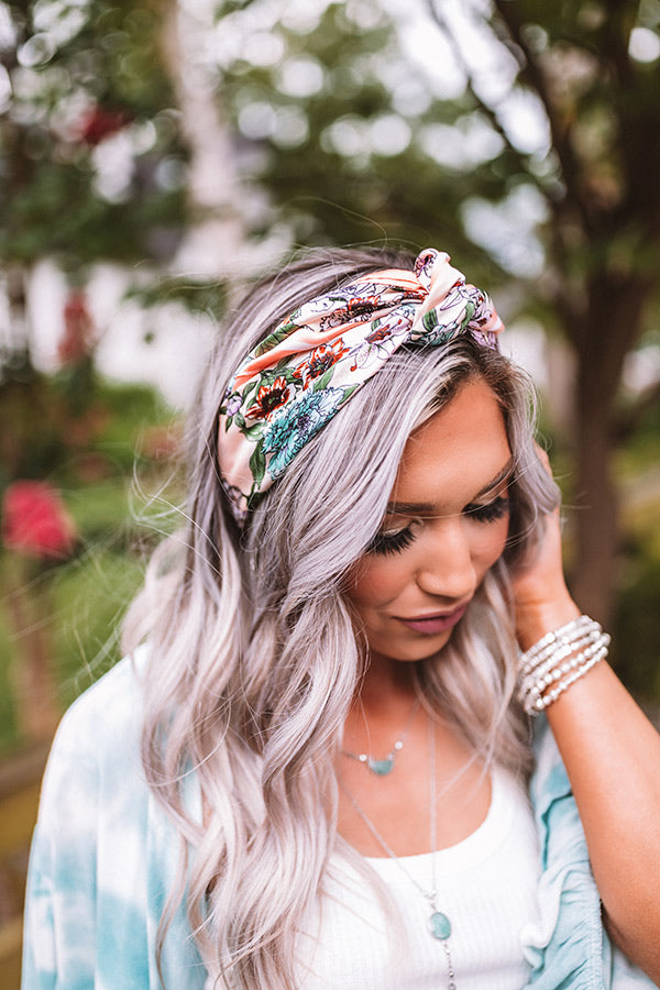 Chelsea Market Floral Hair Scarf In Peach