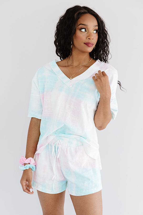 Rest And Relaxation Tie Dye Shift Tee In Pink