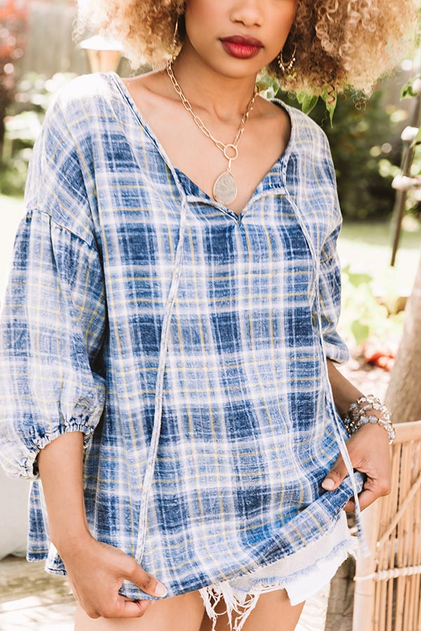 Bonfire Reflection Plaid Shift Top In Blue